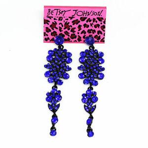 Women-039-s-Shiny-Crystal-Rhinestone-Eardrop-Long-Dangle-Betsey-Johnson-Earrings