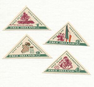 4-MNH-c-1956-Triangular-FREE-IRELAND-CINDERELLA-LABELS-Anti-English-Occupation