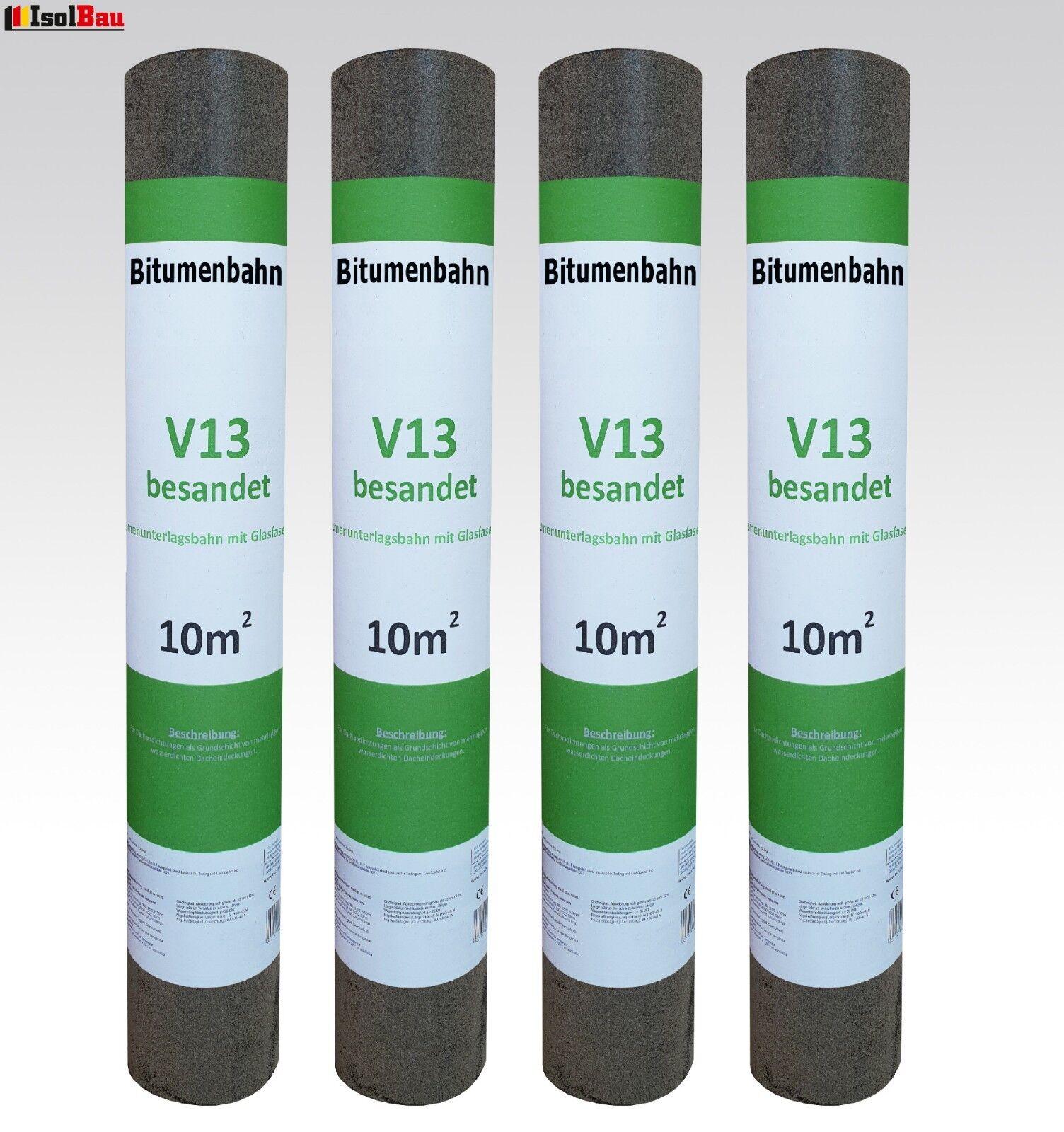 Dachpappe V 13 besandet mit Glasvlieseinlage 40 m²  Bitumen Dachbahn 4 Rollen