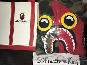 16cd8e090614 Image is loading Bape-Hebru-Brantley-Red-Camo-Shark-Hoodie-Sz-