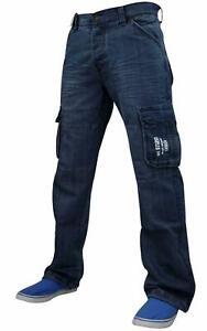 ENZO-Para-Hombre-de-Disenador-de-carga-de-combate-de-Jean-Denim-Pantalones-Pantalones-Informales