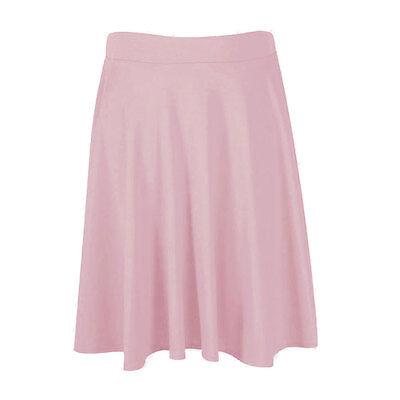 Ladies Womens Soft Stretch Knee Length Midi Full Flared Skater skirt Plus Size