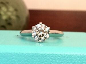0db3c7be712a8 Details about TIFFANY & Co PLATINUM DIAMOND ENGAGEMENT RING 1.04 CT I  Triple EXC $14k RETAIL