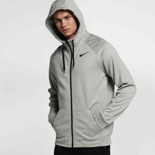 Nike Men/'s Dri-FIT Therma Grey Full-Zip Training Hoodie AJ4450 091 S M L XL 2XL