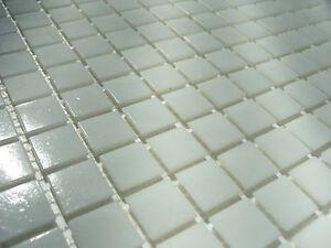 Details zu 1 qm - glasmosaik mosaik fliesen bad pool dusche weiß -  durchgefärbt TOP !