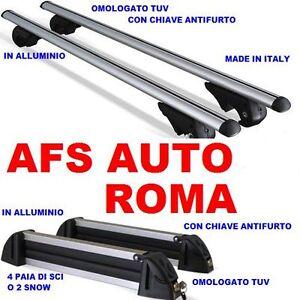 BARRE PORTATUTTO FIAT 500 ANNO 2008+PORTASCI 4 PAIA ALLUMINIO CHIAVI ANTIFURTO