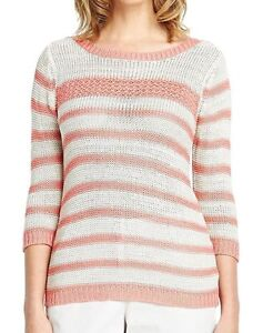 3c51927d0e0b Plus Size 22 Simply Fab Pink Cream Striped Knit JUMPER TOP 3 4 ...