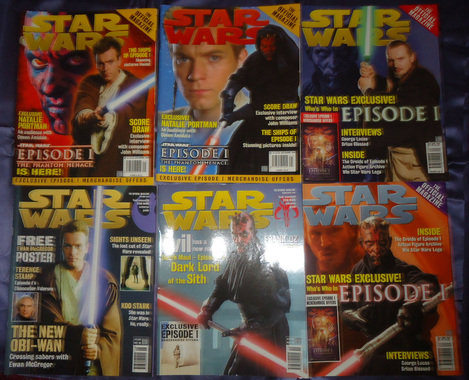 Star Wars  87 Official magazine by Titan. Issues 18-23, 1999, 9 mags, UK seller