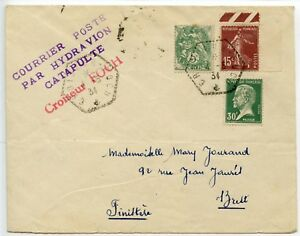 France-1934-COURRIER-POSTE-PAR-HYDRAVION-CATAPULTE-Croiseur-FOCH-to-Brest