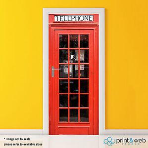 Image is loading London-Phone-Box-Vinyl-Door-Wrap-Decal-Sticker- & London Phone Box Vinyl Door Wrap Decal Sticker Self Adhesive Art ...