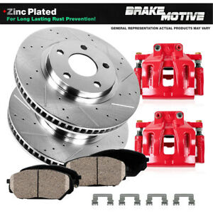 Front And Rear Red Brake Calipers Ceramic Pads Set For Forester Impreza WRX