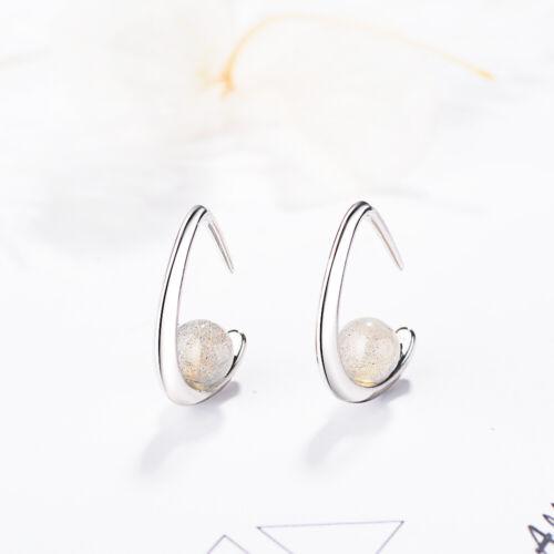 EAR CUFF 925 Sterling Silver Crystal Moonstone Bead Clip On Cuff Earrings Gift