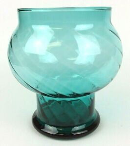 Vintage-Hand-Blown-Teal-Vase-Optic-Swirl-5-Inch-MCM-Gift-Idea