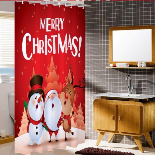 Christmas 3D Print Waterproof Polyester Bathroom Shower Curtain Decor 12 Hooks