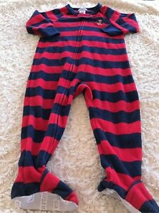 117537710 Carters Boys Navy Blue Red Striped Fleece Long Sleeve Pajamas 12 ...