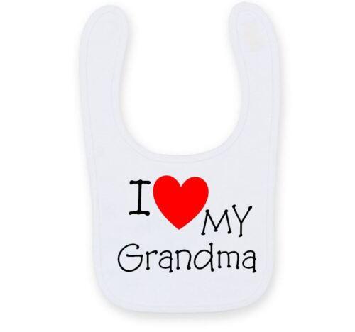 Personalizado me encanta mi abuela Babero de bebé Linda Divertida tía Babero de Bebé B008