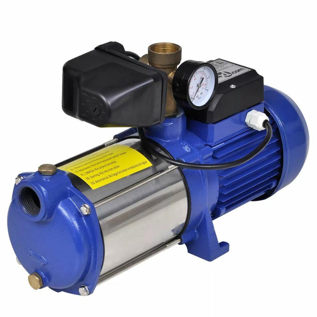 VidaXL Bomba inyectora azúl indicador de presión sistema de riego 1300W 5100L h