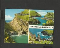 J Hinde Multi View Colour Postcard Tintagel and Boscastle Cornwall-unposted