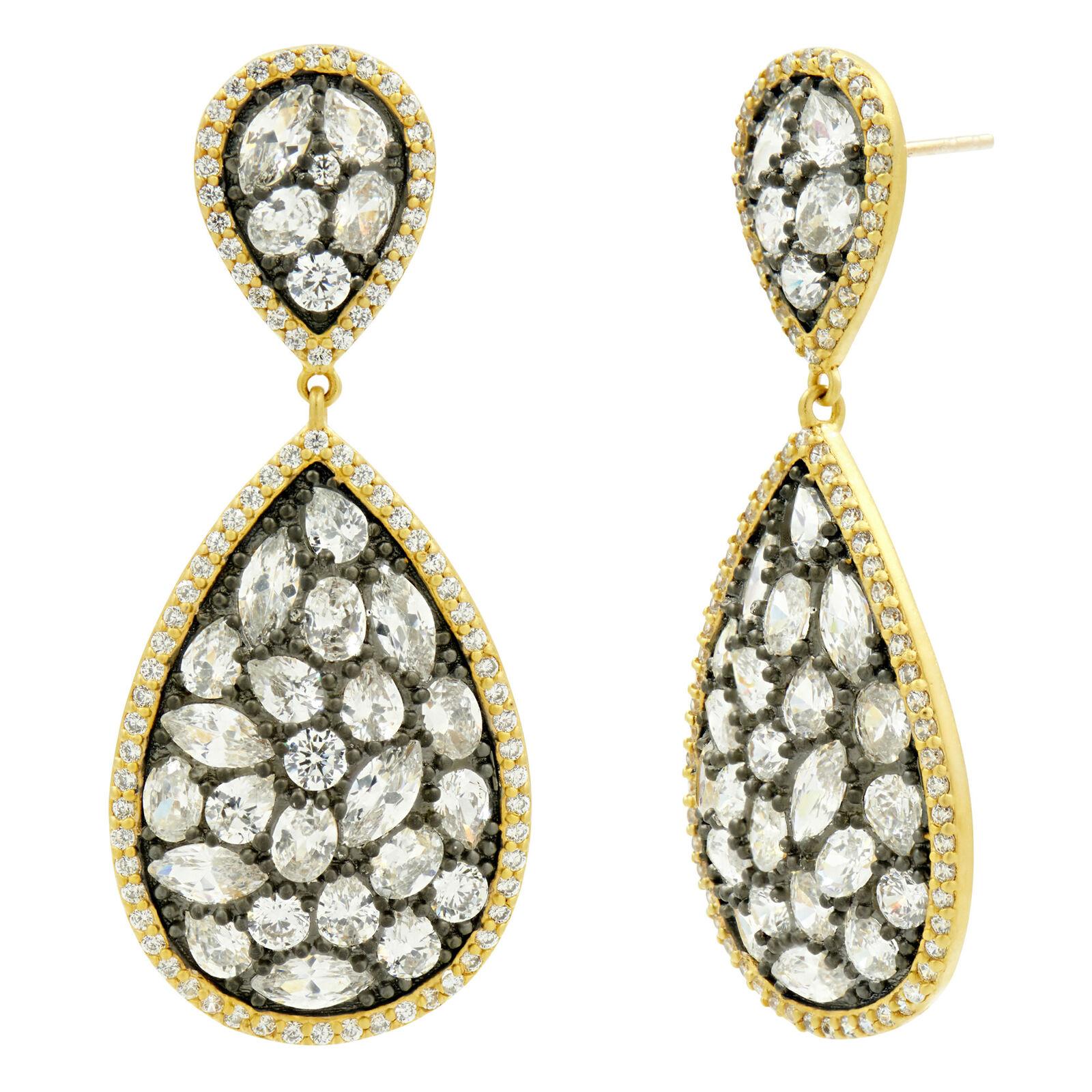 Freida redhman pinkcut Stones Large Drop Earrings - NWT
