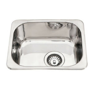 390 320 160mm Stainless Steel 1 Bowl Kitchen Laundry Sink Square