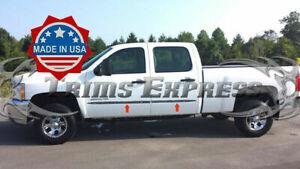 2007-2013-Chevy-Silverado-Crew-Cab-Chrome-Flat-Body-Side-Molding-Trim-2-034-4Pc