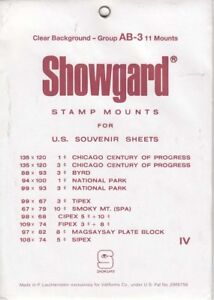 Showgard-Clear-Stamp-Mounts-Set-Group-AB-US-Souvenir-Sheets-to-1975-Lot-Of-11