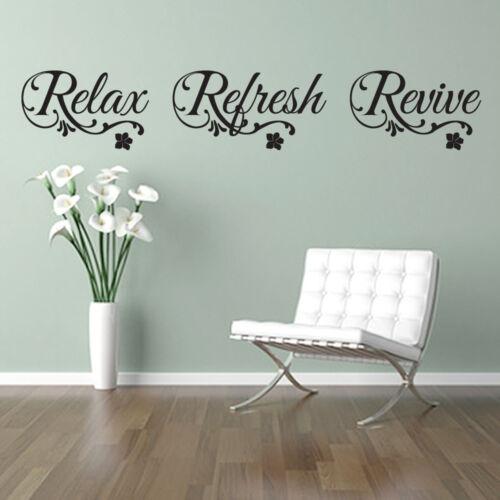 Détendez-vous rafraîchir Revive Citation Autocollant Mural Art Décalque Spa Salle de Bain Nail Salon de beauté