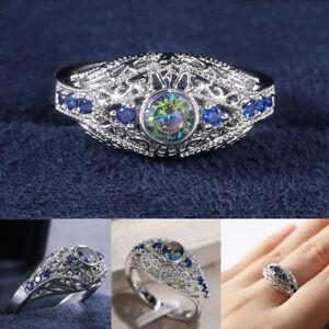Glass-Diamond-Ring-von-Topaz-Vintage-Hochzeitsparty-Ringe-Hohl-aus-geschnitzt