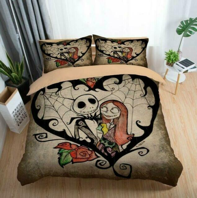 3D The Nightmare Before Christmas Jack Sally Comforter Cover Kids Bedding Set