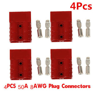 Battery Quick Connector Kit PC Plugs Connect Disconnect Winch Trailer 50A 6//8AWG