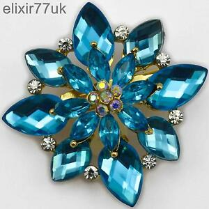 NEW-GOLD-SPARKLY-FLOWER-BROOCH-BLUE-RHINESTONE-DIAMANTE-CRYSTAL-BROACH-GIFT-UK