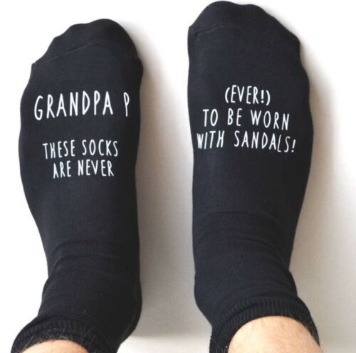 Personalised Text Mens Socks Grandad Birthday Fathers Day Gift Presents Dad Pops