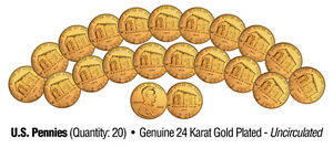 2009-Uncirculated-24K-Gold-LINCOLN-BIRTHPLACE-Bicentennial-US-Pennies-Lot-of-20