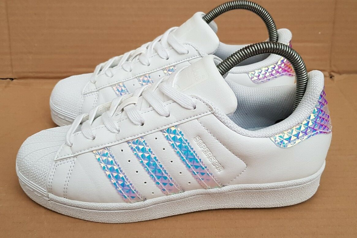 ADIDAS SUPERSTAR HOLOGRAPHIC TRAINERS SIZE 5 UK DUBAI BlauS WORN TWICE IMMACULAT