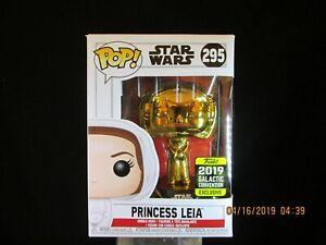 Gold Chrome Princess Leia #295 Star Wars 2019 Galactic Convention Funko Pop