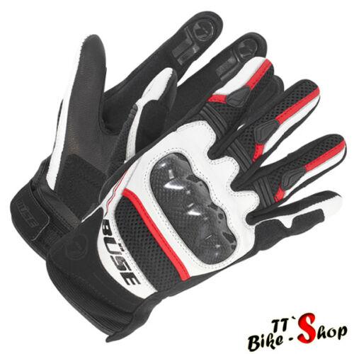 "tamaño 8-M Büse /""safe Ride/"" motocicleta guantes en rojo-blanco-negro corto"
