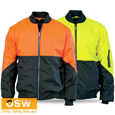 HI VIS UNISEX SAFETY TWO-TONE CONTRAST WARM TRADIES OUTDOOR WORK BOMBER JACKET