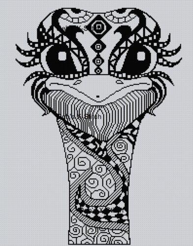 Blackwork Emu Head Cross Stitch Chart