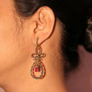 14k-Yellow-Gold-2-08-Ct-Diamond-Pave-Ruby-Gemstone-Dangle-Earrings-925-Silver