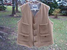 Vintage Men's Woolrich Wool Sherpa Lined Light Brown Vest Snaps Sz Medium M EUC