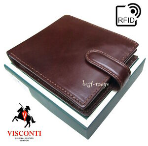 Men/'s Genuine Leather Tri-Fold Wallet BLACK RFID 86