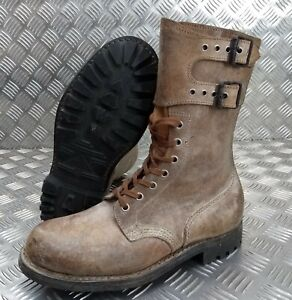 Genuine-French-Foreign-Legion-Brown-Leather-Suede-Army-Boots-Size-41-NEW-FB003