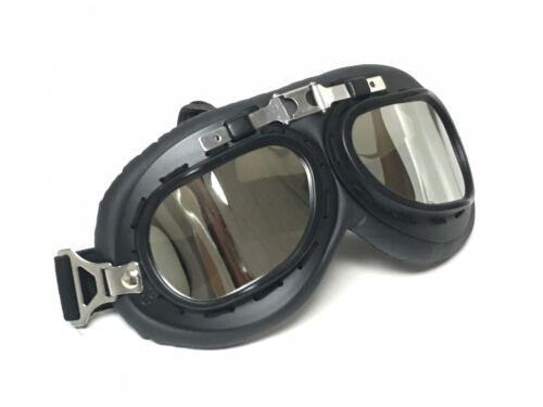 New Helmet Steampunk Chrome Motorcycle Aviator Goggles Vintage Retro Pilot