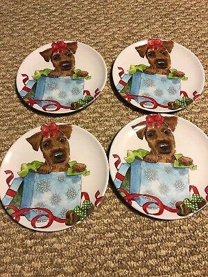 New. Prima Design Melamine Salad Plates Dogs Set Of 5 Golden doodle Bunny
