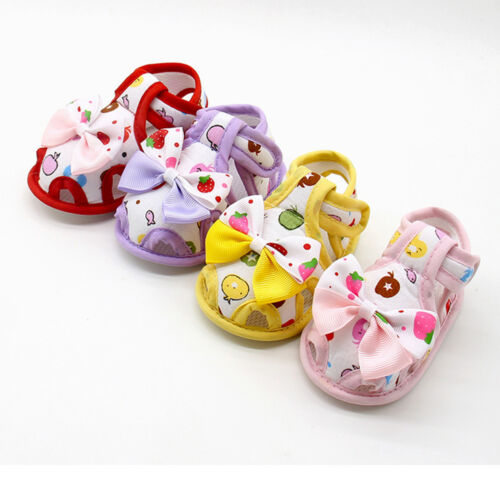 UK Newborn Baby Girl Sandals Summer Bow Soft Crib Shoes Anti-slip Prewalker CW