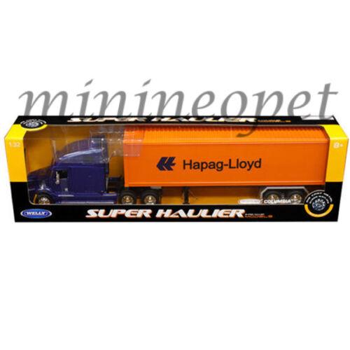 WELLY 32621 SUPER HAULER FREIGHTLINER COLUMBIA TRUCK HAPAG LLOYN 1//32 BLUE