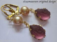 Victorian earrings Edwardian vintage frosted amethyst glass Art Nouveau Art Deco