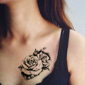 Sexy 3d Big Rose Flowers Waterproof Temporary Tattoo Stickers Women