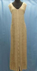 Beige-Long-Women-039-s-Sundress-One-Size-Floral-Sleeveless-A-Line-Boho-Casual-Dress