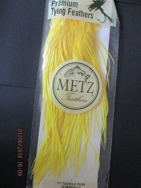 Metz saddle fluoresent yellow grade 2  flytying hair feathers
